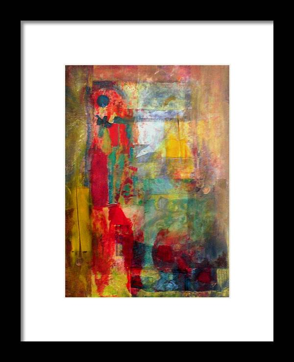 Abstract Framed Print featuring the painting Shoot The Moon by John Vandebrooke