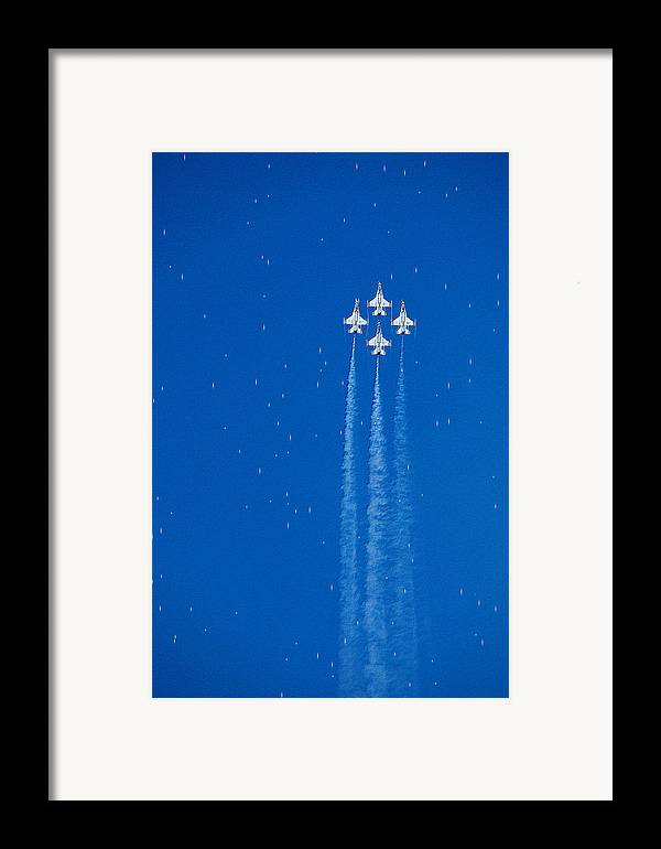 Aeroplane Air Airplane Blue Diamond Elite Fighter Force Four Jet Jets Military Perform Performance Pilot Plane Skill Sky Smoke Speed Strength Freedom Star Stars War Shooting Shoot Aim Up Brave Space Target Fast Framed Print featuring the photograph Shooting Stars by Paul Ge
