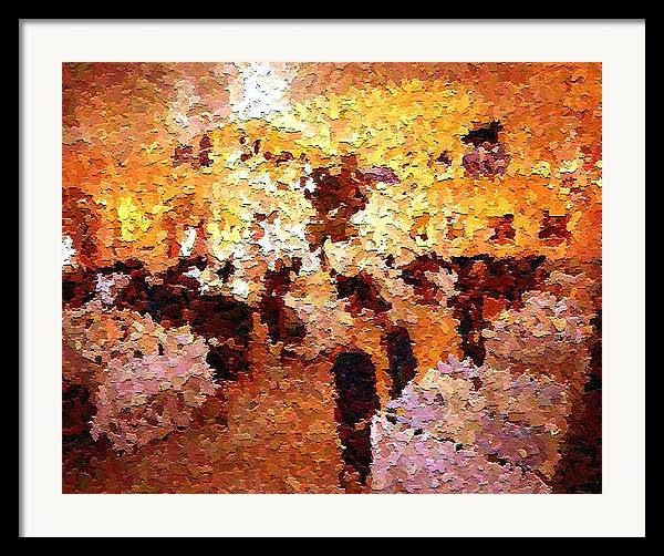 Abstract Framed Print featuring the painting Shoppers In The Gallery by Don Phillips