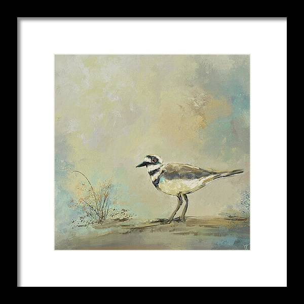 Jai Johnson Framed Print featuring the painting Shore Bird 2945 by Jai Johnson