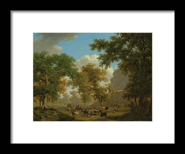 Nature Framed Print featuring the painting Shore, Pierre-louis Geneva 1753 - 1817 Presinge Lively And Large Trough Path At The Foot Of Cliffs by Shore Pierre Louis