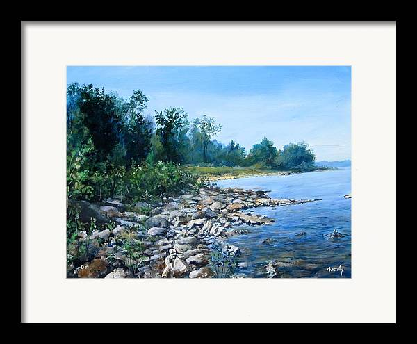 Seascape Framed Print featuring the painting Shoreline by William Brody