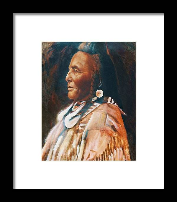Native American Framed Print featuring the painting Shot In The Hand by Elizabeth Silk