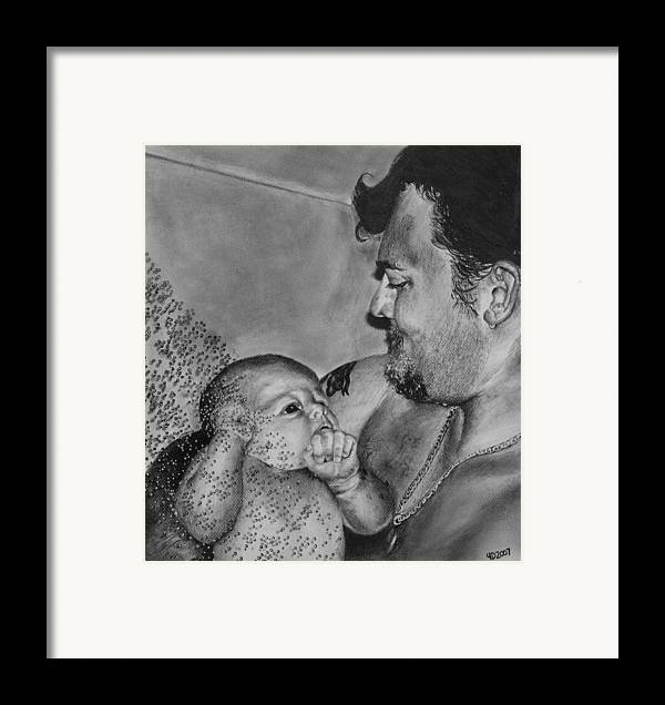 Figure Framed Print featuring the drawing Showered In Daddy's Love by Darcie Duranceau