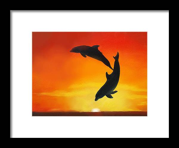 Sunset Framed Print featuring the painting Showing Off by Darlene Green