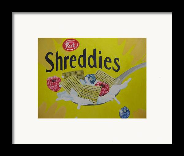 Shreddies Framed Print featuring the painting Shreddies by Theodora Dimitrijevic