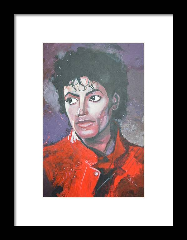 Michael Jackson Framed Print featuring the painting Shriller by Luci Ferguson