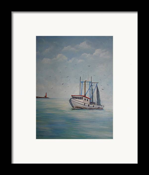 Shrimp Boat Framed Print featuring the painting Shrimp Boat by Carolyn Speer
