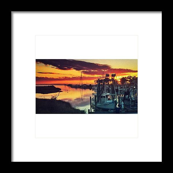 Iphone6 Framed Print featuring the photograph Shrimp Boat Sunset #boats #harbor by Joan McCool