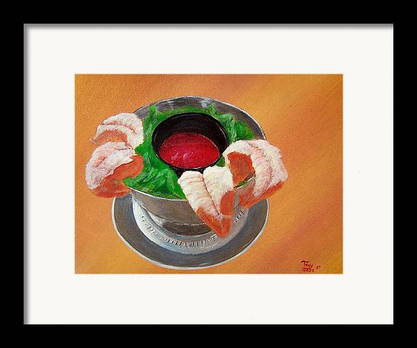 Food Framed Print featuring the painting Shrimp Cocktail by Tony Rodriguez