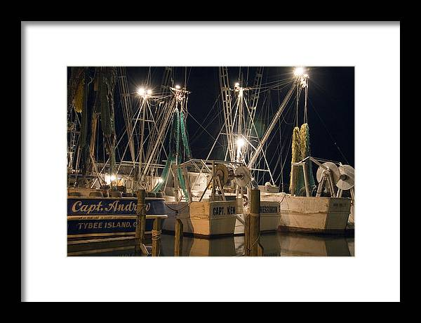 Shrimpboats Framed Print featuring the photograph Shrimpboats And Night by Tom McElvy