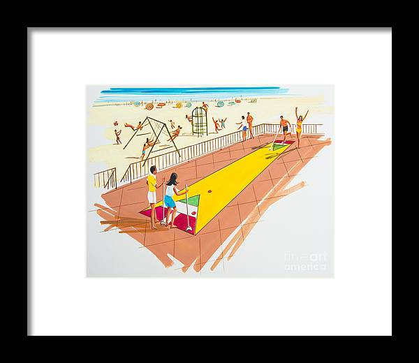 Shuffleboard Framed Print featuring the drawing Retro Shuffleboard Art From The 1960's by Retro Views