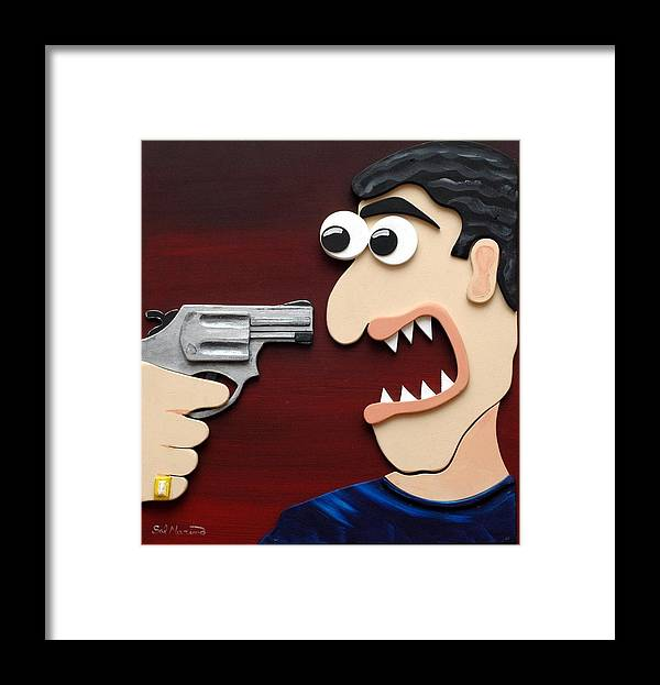 Funism Framed Print featuring the painting Shut Up by Sal Marino