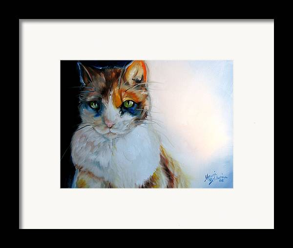Cat Framed Print featuring the painting Shy Calli by Marcia Baldwin
