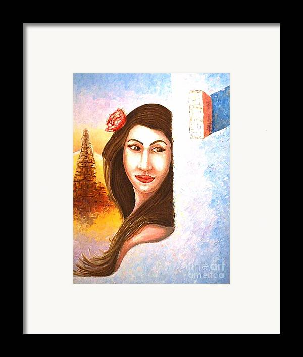 Portrait Framed Print featuring the painting Shy Thoughts by Santiago Chavez