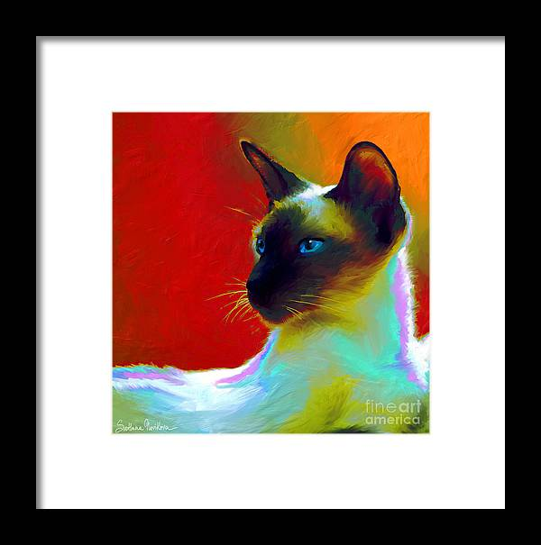 Siamese Cat Art Framed Print featuring the painting Siamese Cat 10 Painting by Svetlana Novikova