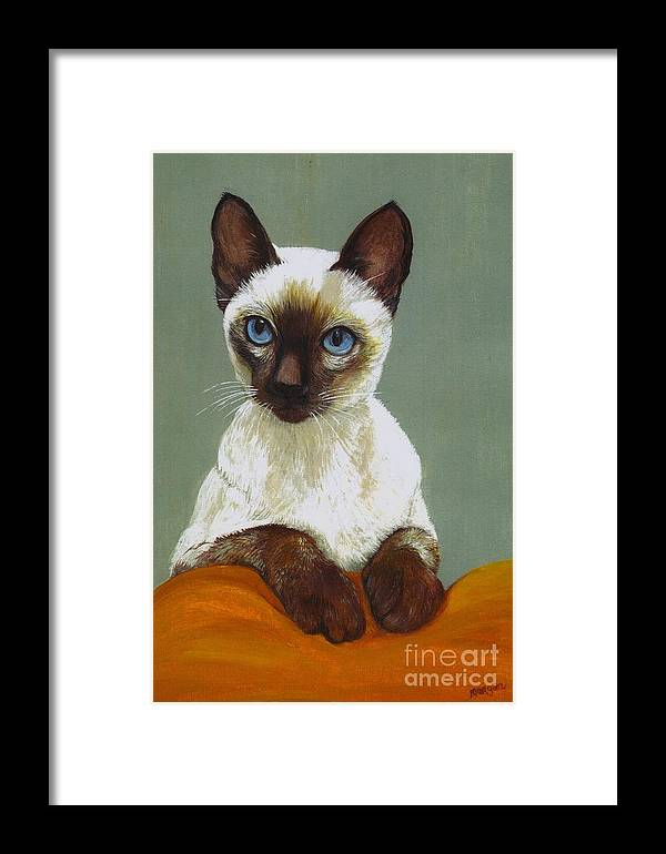 Siamese Framed Print featuring the painting Siamese Cat by Morgan Fitzsimons