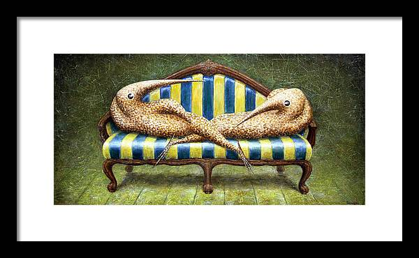 Sofa Framed Print featuring the painting Siamese Twins by Lolita Bronzini