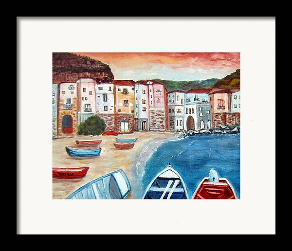 Landscape Framed Print featuring the painting Sicilian Fishing Village by Lia Marsman