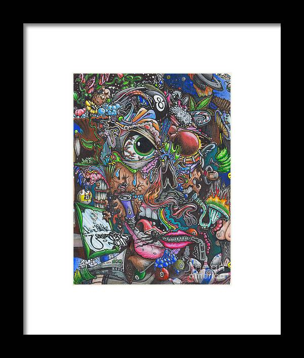 Colorful Framed Print featuring the drawing Sick Reality by Brian Schuster