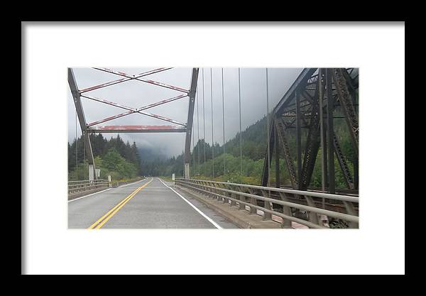 Train & Highway Bridge Framed Print featuring the photograph Side By Side by Kathleen Voort