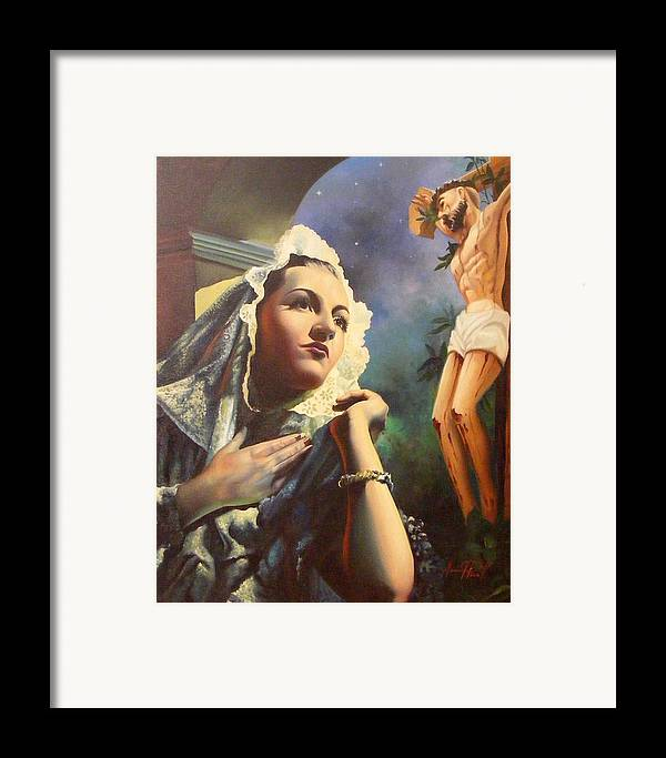 Devotional Framed Print featuring the painting Siempre Fiel by Pina