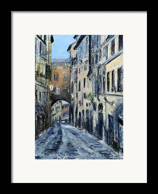 Cityscape Siena Italy Archway Street Houses Framed Print featuring the painting Siena Porta by Joan De Bot