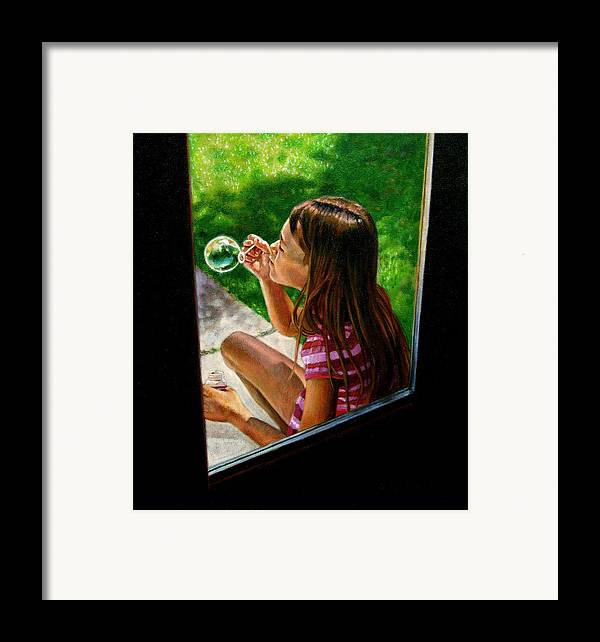 Girl Framed Print featuring the painting Sierra Blowing Bubbles by John Lautermilch