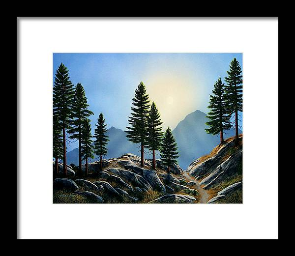 Landscape Framed Print featuring the painting Sierra Sentinals by Frank Wilson