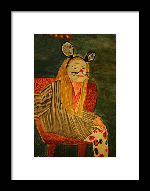 Clown Mask Ears Halloween Tric Or Treat Orange Stripes Whiskers Potrait Girl Young Framed Print featuring the painting Sierra Waiting For Trick Or Treats by Shellie Gustafson