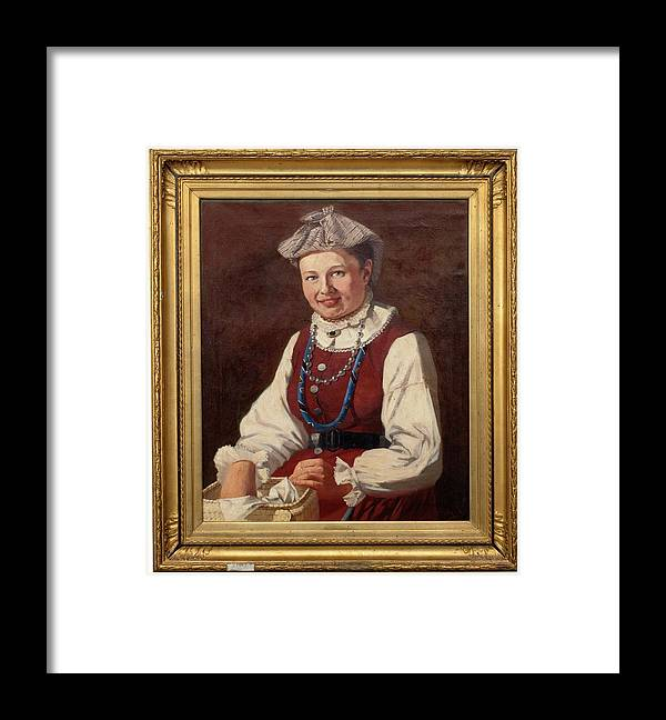 Girl Framed Print featuring the painting Sigfrid August Keinanen, Woman Standing. by Sigfrid August Keinanen