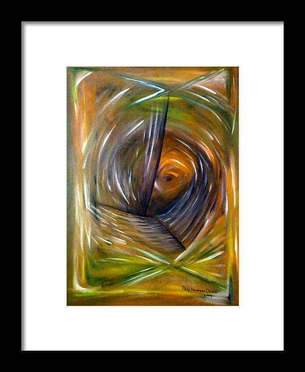 Abstract Framed Print featuring the painting Sight by Philip Okoro