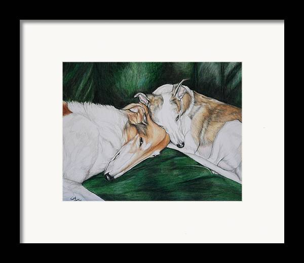 Borzoi Framed Print featuring the painting Sighthound Comfort by Charlotte Yealey