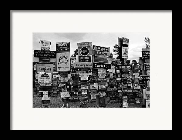 North America Framed Print featuring the photograph Sign Post Forest by Juergen Weiss