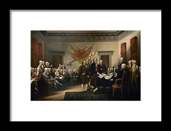 Declaration Of Independence Framed Print featuring the painting Signing The Declaration Of Independence by War Is Hell Store