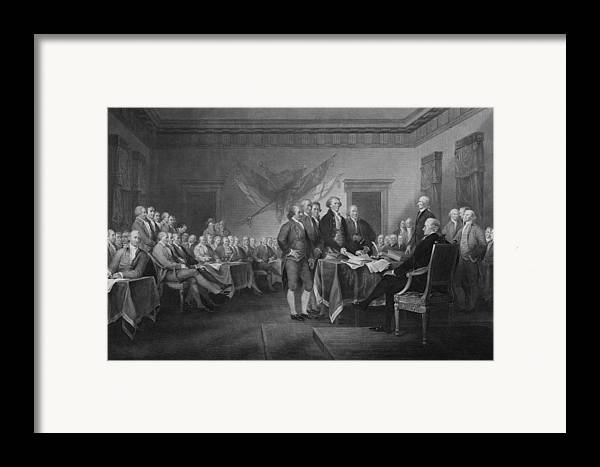 Declaration Of Independence Framed Print featuring the mixed media Signing The Declaration Of Independence by War Is Hell Store