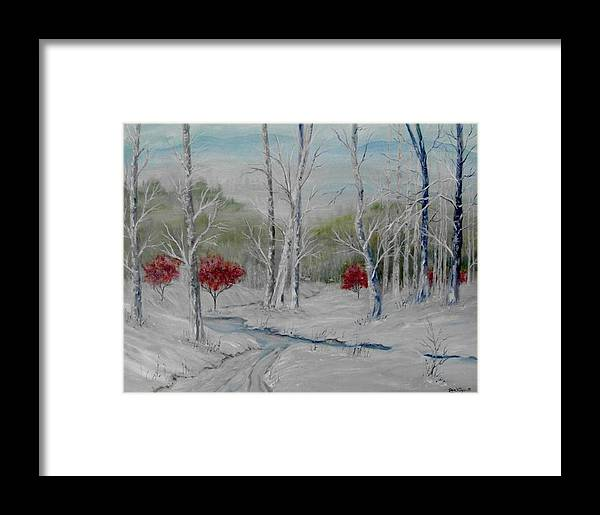 Snow; Winter; Birch Trees Framed Print featuring the painting Silence by Ben Kiger