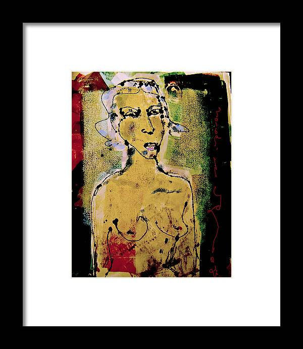 Female Framed Print featuring the painting Silent Abuse by Noredin Morgan