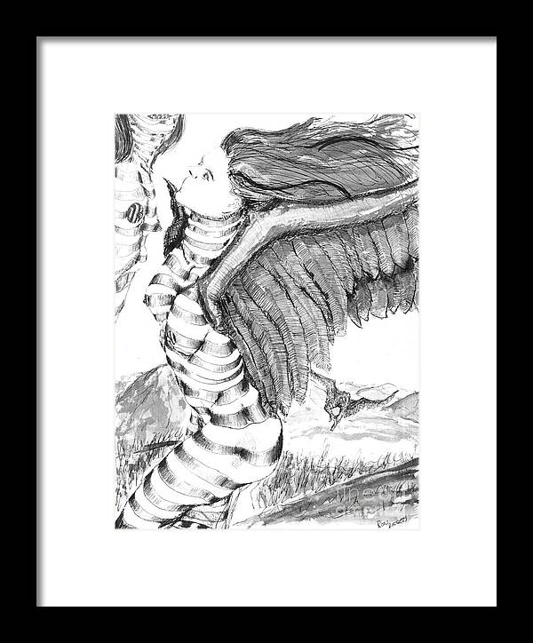Surreal Framed Print featuring the drawing Silent Flight by Ron Bissett