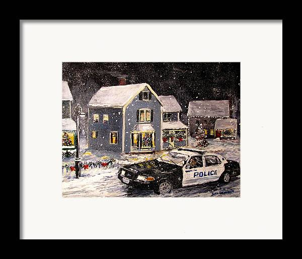 Snow Framed Print featuring the painting Silent Knight by Jack Skinner
