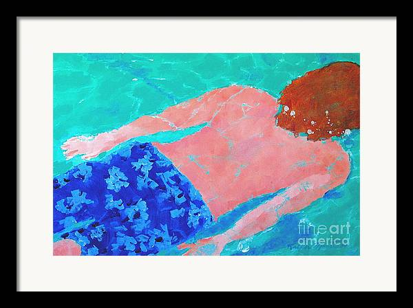 Swimming Framed Print featuring the painting Silent Motion by Art Mantia