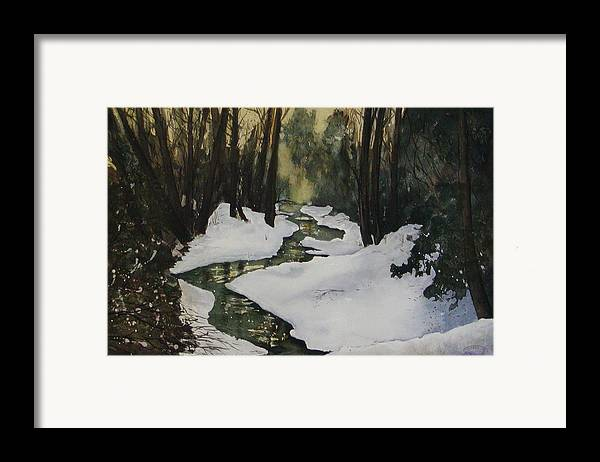 Watercolour Framed Print featuring the painting Silent Snow by Sharon Steinhaus