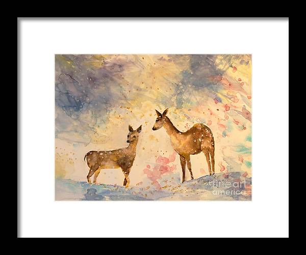 Deer Gently Visit This Blustery Snow Scene. Framed Print featuring the painting Silent Visitors by Tina Sheppard