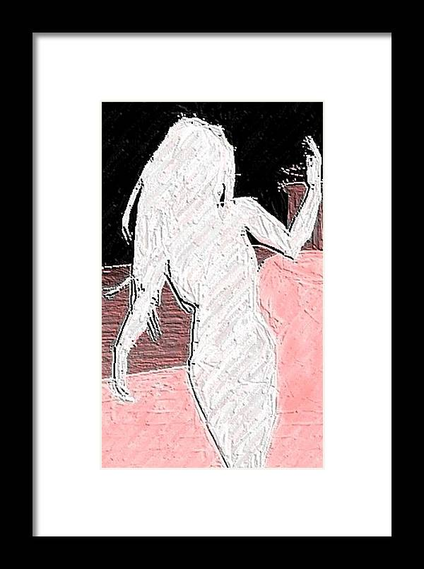 Woman Side View Silhouette Framed Print featuring the digital art Silhouette by Margie Byrne