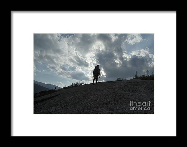 Silhouette Framed Print featuring the photograph Silhouette Of A Hiker On Middle Sugarloaf Mountain - White Mountains New Hampshire Usa by Erin Paul Donovan