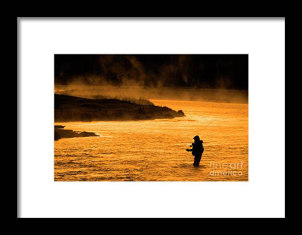 Bait Framed Print featuring the photograph Silhouette Of Man Flyfishing Fishing In River Golden Sunlight by Lane Erickson