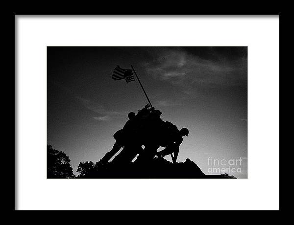 Usmc Framed Print featuring the photograph silhouette of the United states  marine corps war memorial iwo