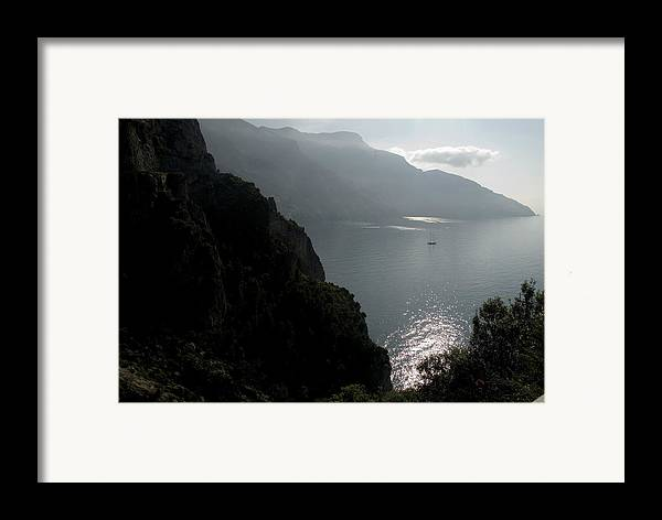 Amalfi Coast Framed Print featuring the photograph Silhouetted Mountains And Sea by Charles Ridgway