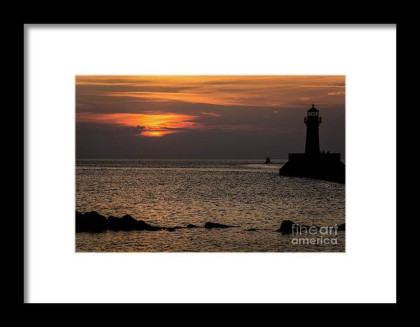 Lake Framed Print featuring the photograph Silhouetted North Pier by Deborah Klubertanz