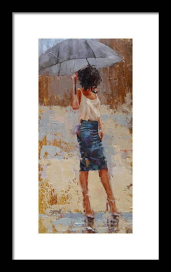 Laura Zanghetti Framed Print featuring the painting Silk by Laura Lee Zanghetti